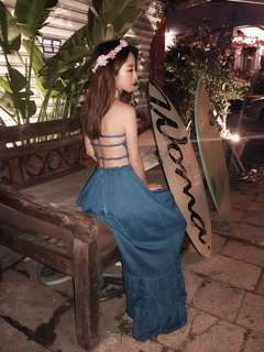 ALICE SELECT 希臘女神 波西米亞 棉麻 渡假必備美背優雅長洋裝