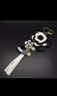 P.O key chain flower tassel chanel camellia inspired