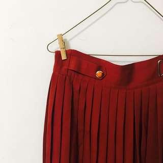 丨古著 橘紅色百褶寬褲丨