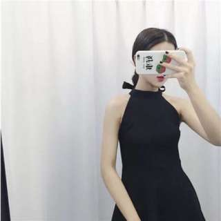 黑色削肩綁帶洋裝