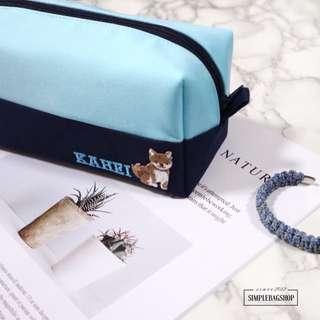 ❄️上湖水藍下深藍色5:5立體型筆袋