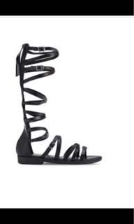 Black Knee High Gladiator Sandals