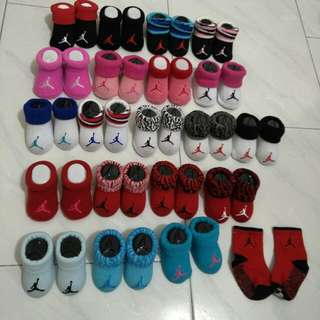 Jordan infant newborn booties socks red pink black blue white cement grey 0 6 12 months