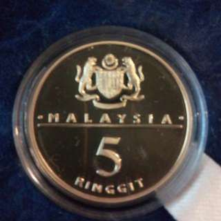 1989 Bank Negara 5 Ringgit Copper Proof Coin
