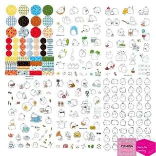 Set of 6pcs Cute Molang PVC Sticker Set