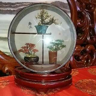 Vintage Miniature Bonsai Trees In Wood Frame Decor