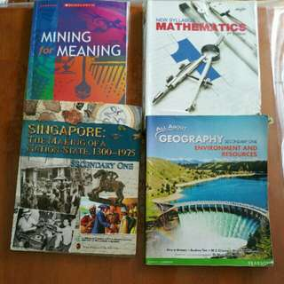 Sec 1-2 Textbooks for Literature History Math and Geog