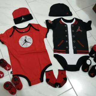 Jordan romper set booties beanie bonnet newborn infant 0 6 12 months bugs bred red black white