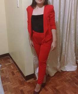 Style Nanda Red Blazer and Pants coordinates