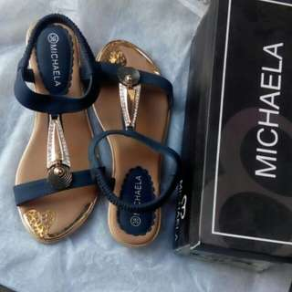 Michaela Blue and Gold Sandals