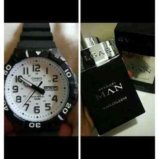 buy 💯 auth bvlgari man in black perfume get 💯 auth casio watch for him😍😍😍