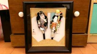 日本手工 羽子板 掛畫 古董收藏品