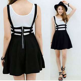 Caged Skater Skirt with suspenders