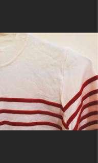 🚚 紅色藍色條紋針織上衣
