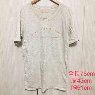 細字母寬鬆上衣T-shirt 淺花灰
