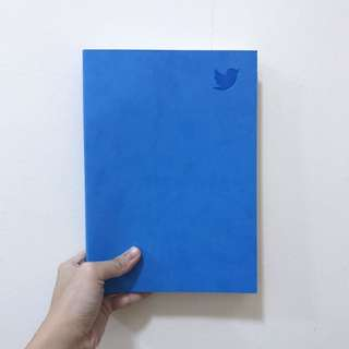 BN Sky Blue Faux Leather Twitter Embossed B5 Line Notebook