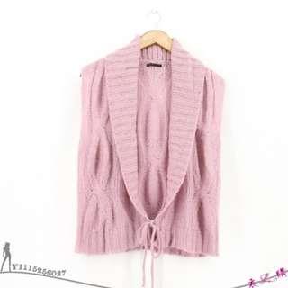 專櫃 SISLEY ITALY製氣質優雅藕紫色麻花捲織紋綁帶開襟外搭針織毛衣背心