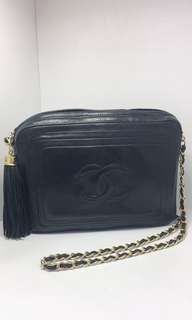 正品 95%新 Chanel Vintage 黑色鬚鬚金鍊斜揹袋