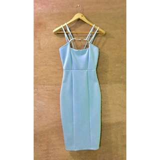PRP baby Blue Midi strappy Bodycon Dress with Gold Buckle