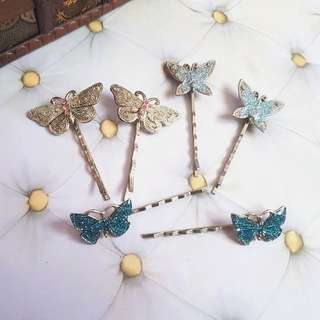 🆕️3 pairs Vintage-like Glitter Butterfly Hair pins