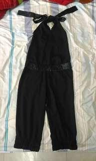 🚚 👖近全新 連身褲 伸縮腰 頸綁帶 七分褲 前後口袋 黑褲 寬鬆 休閒 個性