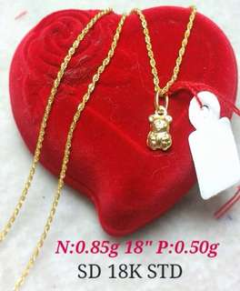 Necklace w/ Bear Pendant 18k