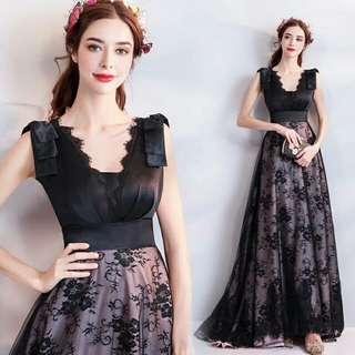 🚚 天使佳人婚紗禮服旗袍~~黑色蕾絲晚禮服緞面長版晚禮服