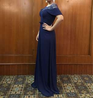 RENT: Karimadon Elegant Navy Blue Gown with Sewed-On Gem Designs