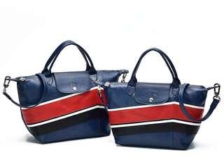 Tas Longchamp Le Pliage Cuir *Medium* Chevron Birdong P50299-28