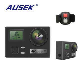 AUSEK AT-Q303 GoPro Style Dual Screen 4K30fps Action Camera with Remote & Dual Screen