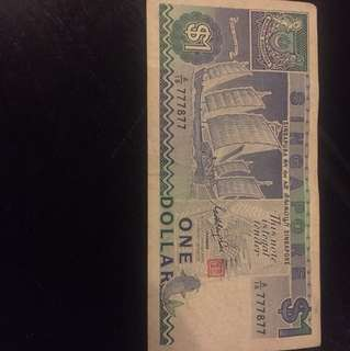 777877 old 1 dollar note