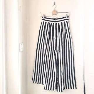 H&M 黑白直間闊褲 Wide Leg Stripe Trousers