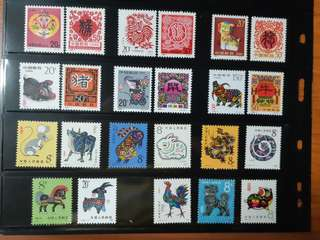 Assorted China Zodiac Stamps (mint)