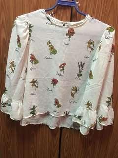 Zara Floral Ins Flowy Sleeve Blouse