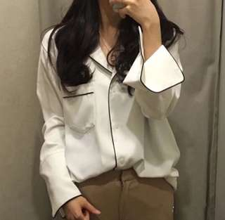 New White Pajama Long Sleeve Shirt Blouse S 6-8