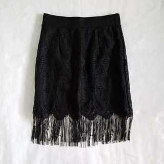 Black Lace Skirt with Fringe