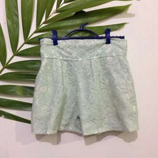Mint High Waisted Floral Shorts
