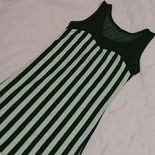 條紋 超顯瘦 洋裝 黑白相間 黑色 白色 #舊愛換新歡 韓版 馬甲
