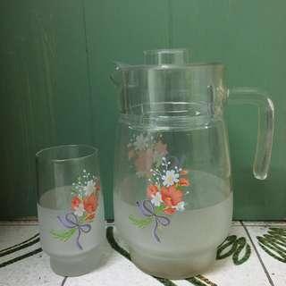懷舊磨砂透明玻璃水樽+水杯6隻