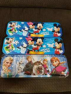 Brand new Mickey and Frozen tin pencil case