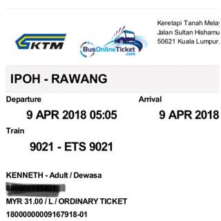 Train ticket ETS Ipoh Rawang