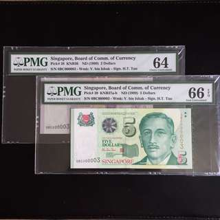 Matching super serial 3 HTT $2 & 5 notes (PMG64 & 66EPQ)