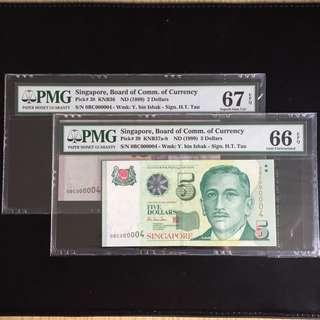 Matching super serial 4 HTT $2 & 5 notes (PMG66-67EPQ)