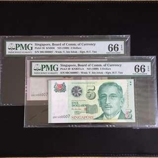 Matching super serial 7 HTT $2 & 5 notes (PMG66EPQ)