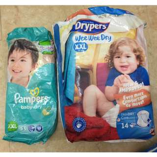 Drypers XXL Diaper 14pcs with FREE XXL Pampers 2 pcs :)