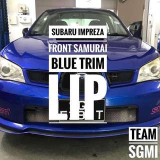 Subaru Impreza Installed! Blue Trim Carbon Fibre Samurai Lip Installed!** INSTALLATION PROVIDED**