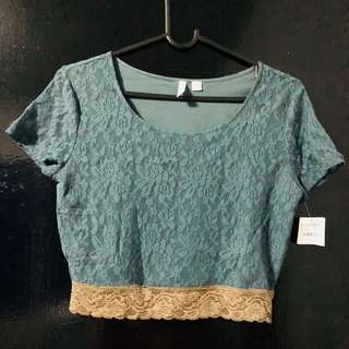 Nordstrom laced crop top (blue)