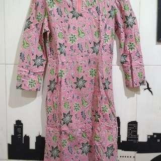 Midi Dress Batik Soft Pink