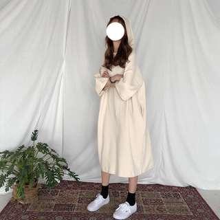 長板休閒俏皮排釦棉連帽洋裝