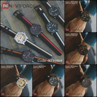 New..New... Casual Man Quartz New NAVI FORCE 9098# Diameter : 4,5 cm ORIGINAL Brand Silicone Strap Date Luminous Watch
